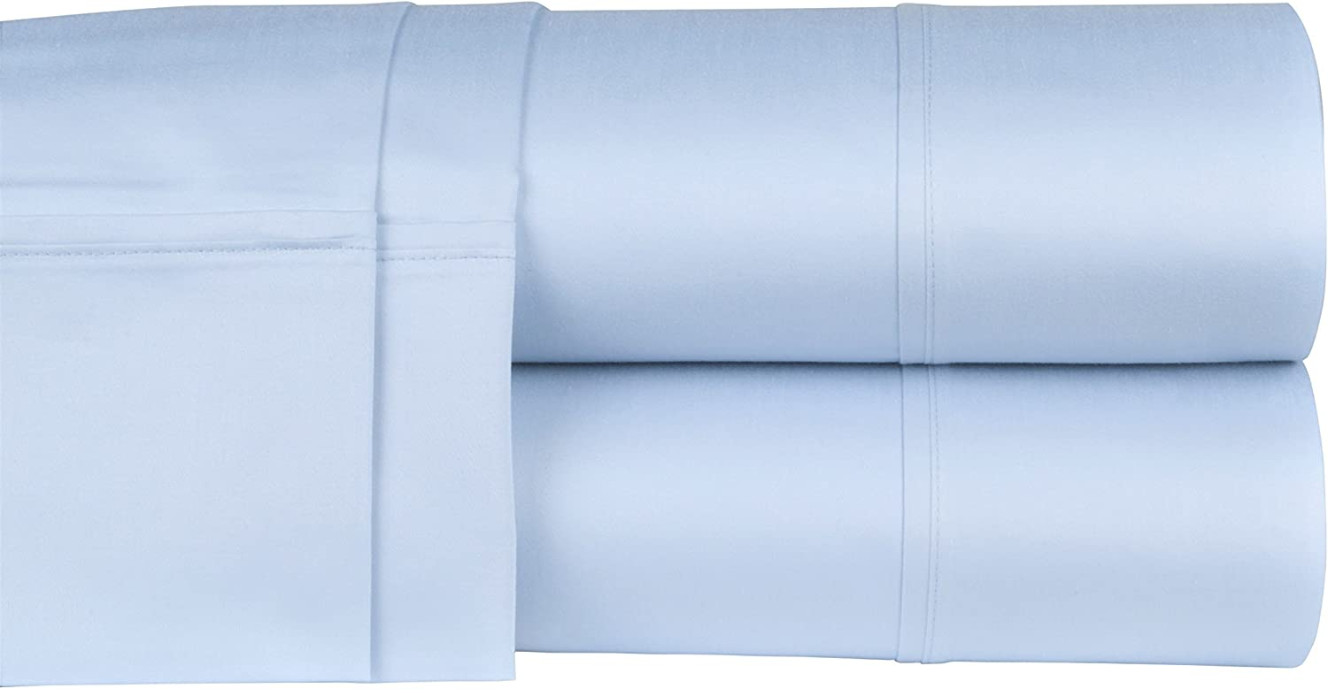 Threadmill Home Linen 300 Thread Count 100% Cotton Sheet Set, Full Sheets, Luxury Bedding Super Sale, Full Sheets 4 Piece Set,Smooth Sateen Weave,Blue