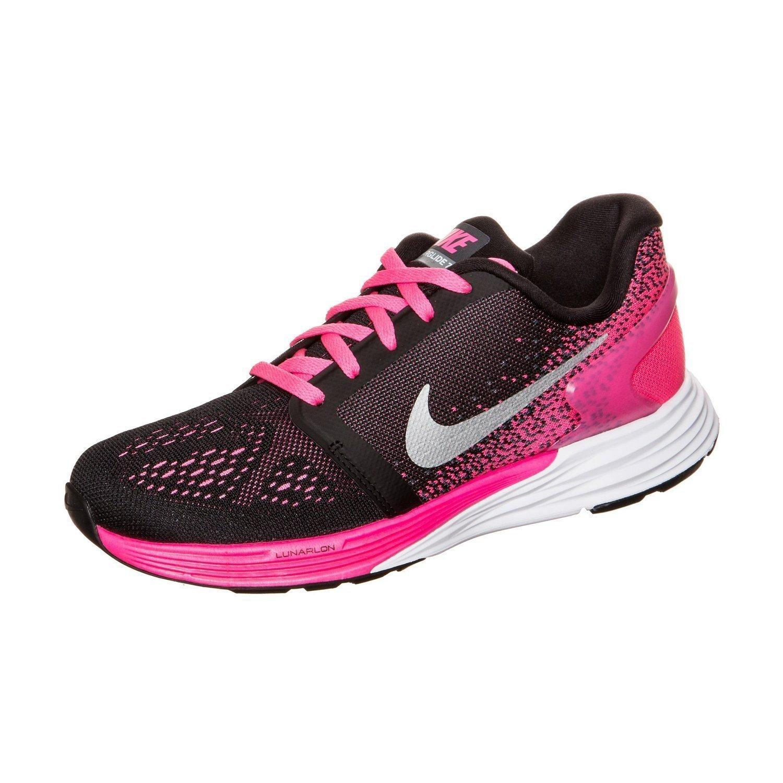 quality design 76338 6230b Nike Lunarglide 7 Black Metallic SIL Sneaker Größe 6.5Y US 6.5 Big Kid M  Schwarz Weiß   Pink Pow Metallic Silber  Amazon.de  Schuhe   Handtaschen