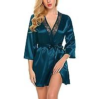 ADOME Women Short Satin Kimono Robe Lingerie Nightgown Sleepwear Silk Bathrobe Pure Color
