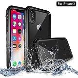 Coque iPhone X, NewTsie Rugged Armor Coque Intégrale [Dirtproof] [Étanche] [Antichoc] avec protecteur d'écran intégré pour Apple iPhone X / iPhone 10 2017 Release (T-Noir)