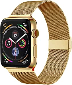 Pigetfy Compatible for Apple Watch Band 40mm 44mm Series 6, Series 5,Series 4,Series 3,Series 2,Series 1,Series SE and Wristband for Iwatch 38mm 42mm (Yellow Gold, 38mm/40mm)