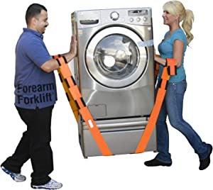 Forearm Forklift Lifting and Moving Straps for Furniture, Appliances, Mattresses or Heavy Objects up to 800 Pounds 2-Person, Orange, Model L74995CN, 2 Count