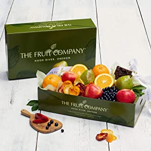 Kosher Gift Box - The Fruit Company Chocolate Covered Blueberries Chocolate Ganache Brownie Dried Fruit Medley Assortment of 9 pieces Premium Fresh Apples, Pears and Oranges