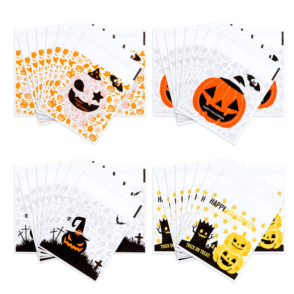 400PCS Halloween Self Adhesive Candy Bags Clear Cellophane Bags 4 Different Style Trick or Treat Bag for Cookie Bakery Biscuit Snacks Dessert Homemade Crafts