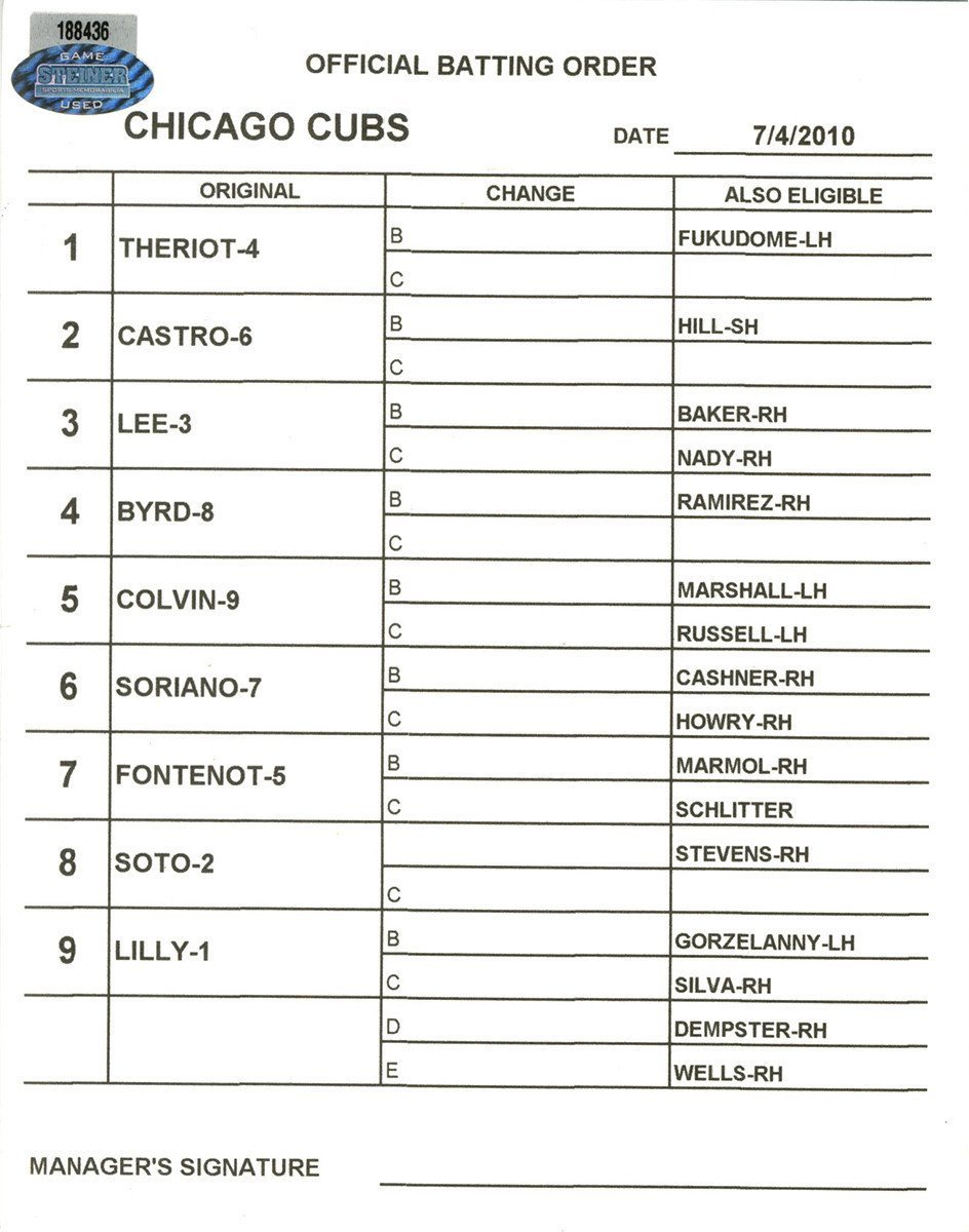 Chicago Cubs vs Cincinnati Reds 7 4 2010 White Game Used Line up Card (No MLB Auth)