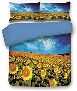 Blue 3pc Bedding Set,Exposure Photo Sunflower Garden Field with Skyline Summer Nature Image Full Duvet Cover Set,Printed Comforter Cover with 2 Pillowcases for Teens Boys Girls & Adults