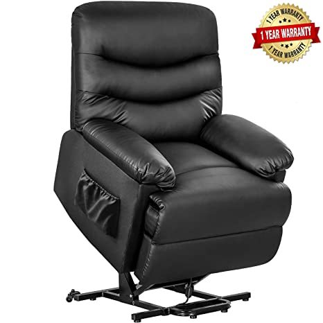 Astounding Merax Power Recliner And Lift Chair In Black Pu Leather Lift Recliner Chair Heavy Duty Steel Reclining Mechanism Frankydiablos Diy Chair Ideas Frankydiabloscom