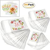 300pcs Thank You Printed Plastic Bags Pink Flower OPP Self Adhesive Cookie Mini Candy Packaging Biscuit Roasting DIY Gift Favor bags For All Parties
