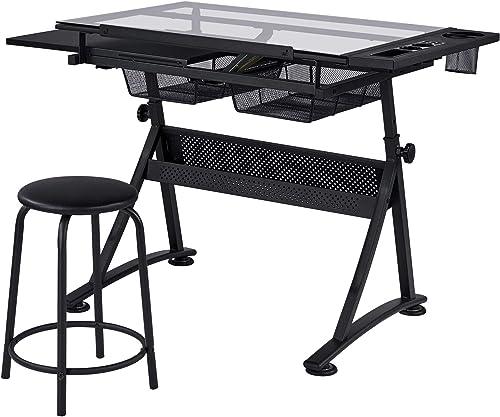 Yaheetech Home Office Desk Height Adjustable Computer Desk Tabletop Tilted Work Station
