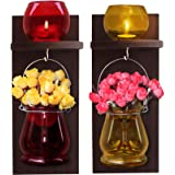 TIED RIBBONS Wooden Wall Decoration Wood Wall Shelf with Flower Vase and Tlight Candle Holder(31 cm X 12 cm) for Living Room, Balcony