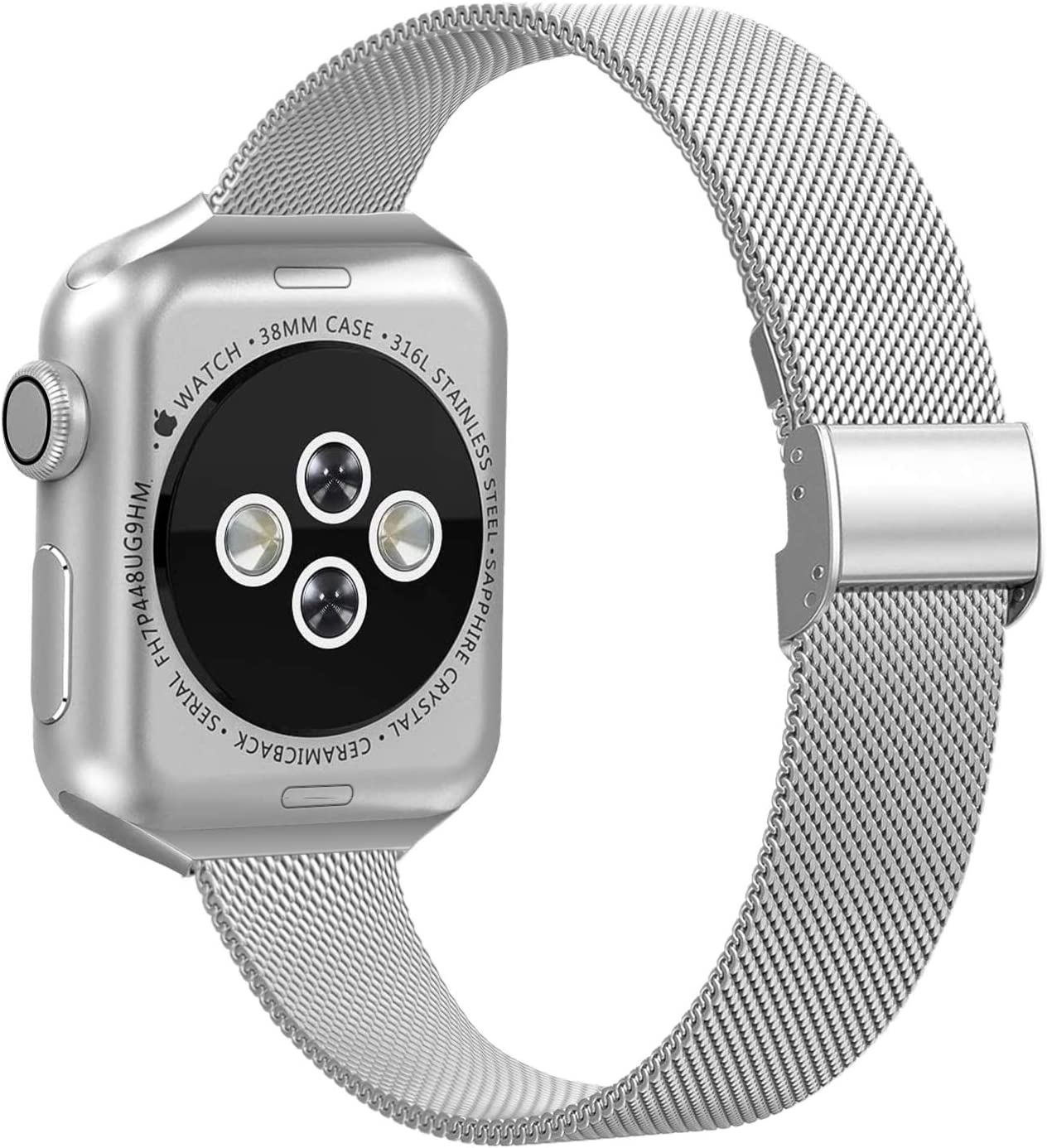 QRose Bands Compatible with Apple Watch 38mm 40mm 42mm 44mm, Slim Thin Narrow Replacement Metal Mesh Sport Accessory Strap Wristband Compatible for iWatch Series 1/2/3/4/5