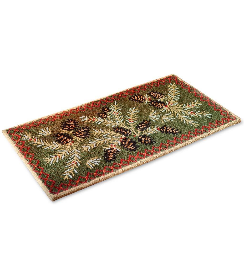 Fire Resistant Pine Cone Fireplace Hearth Rug, 100% Hooked Wool with Cotton Canvas Backing, 2 x 4 ft