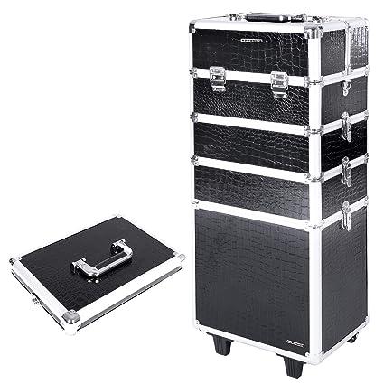 9acf12c60 SONGMICS Aluminio Maleta Maletín para Maquillaje (Ruedas Peluquería maletín  con Volumen Equipaje de Mano Caja