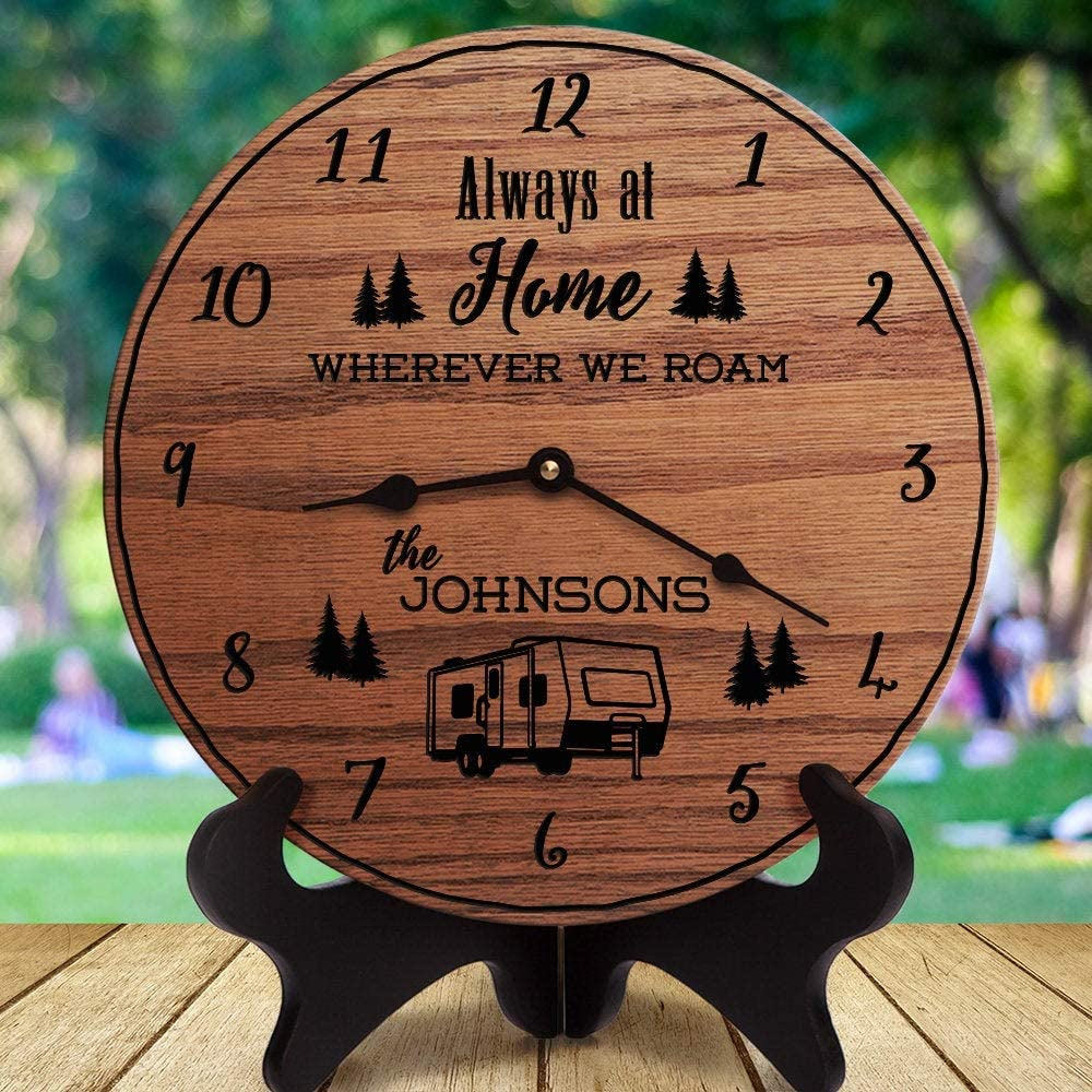 Wherever We Roam Gift with Custom Family Last Name 5th Wheel Camper Dinghy Towed Decorative Wood Style Battery Operated Clock RV Decor