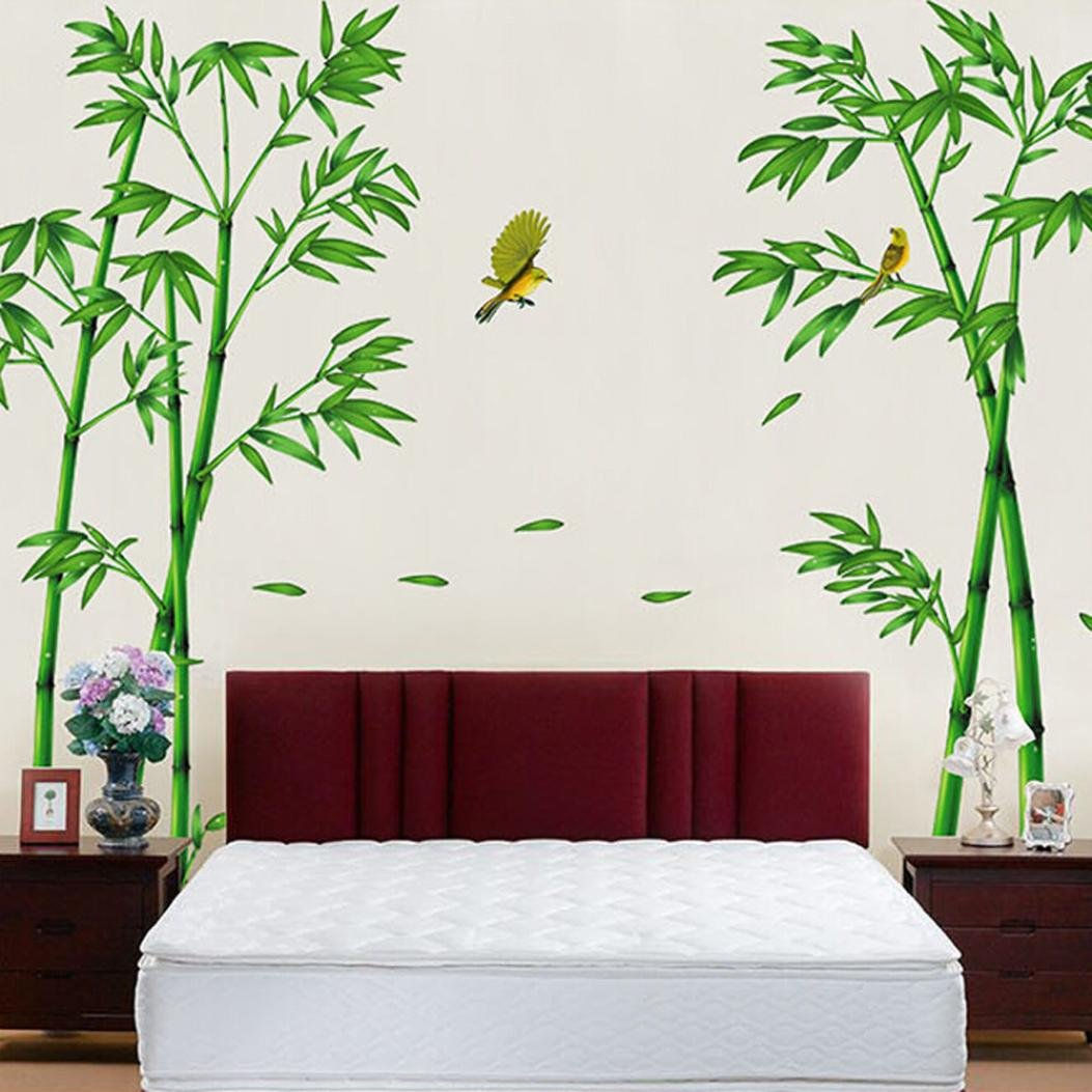 3D DIY Wall Sticker by Naladoo, Lifelike Art Deep Bamboo Forest with Birds Removable Stickers Fridge Home Room Decor Shop Office Window Decoration Wall Decals G500