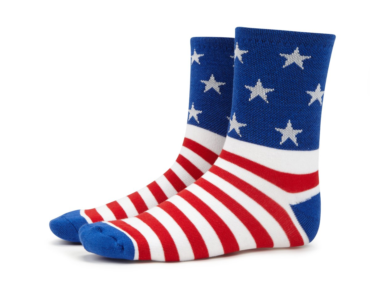 Ecycle Men's Stars and Stripes Cycling Socks Large Blue/White/Red by eCycle