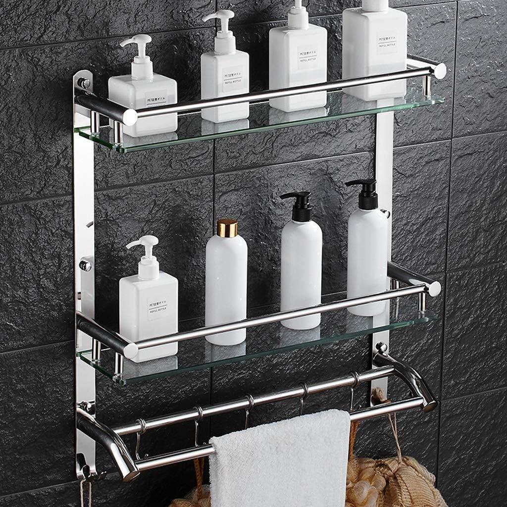 Amazon Com Slingda Bathroom Shelves 2 Levels Shower Holder Storage Basket For Bathroom Kitchen Toughened Glass Shelf 8mm Thick Tempered Glass Size 51cm Home Kitchen