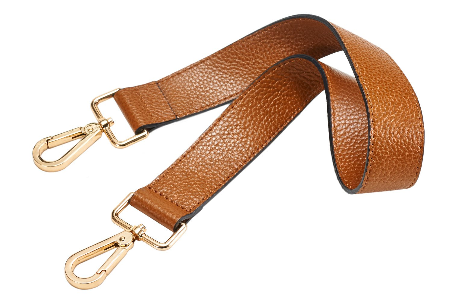 Authentic Leather Replacement Shoulder Strap, Brass Tone (Gold Tone) Metal Buckles, 1.18''x24.8''(WL) (Brown)