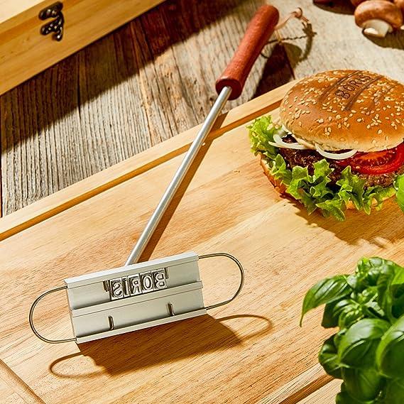 Marcador de carne para barbacoas - Con letras intercambiables - Herramienta para marcar carne de Crazy Kitchen - Utensilios de barbacoa - Regalos para ...