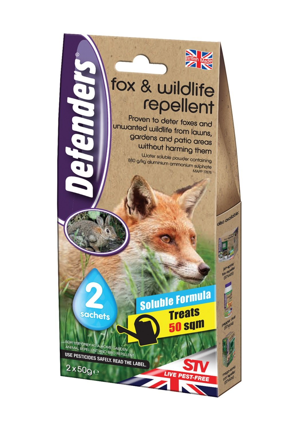 Defenders Fox and Wildlife Repellent (Humane Fox, Rabbit and Bird  Deterrent, Treats up to 50 sq m, Use on Lawns, Gardens, Flowerbeds and  Patio Areas)