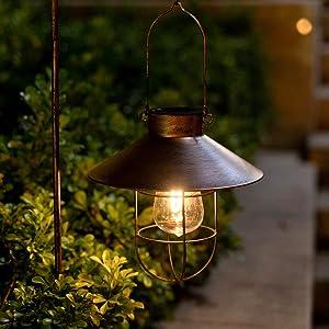 2Pack Solar Metal Hanging Lantern with Shepherd Hook Outdoor Led Garden Lights Brushed Copper