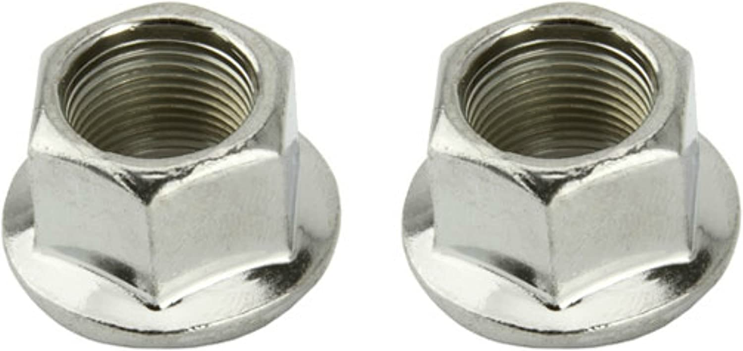 TWO PAIRS FLANGED NUTS CHROME NEW BMX FREESTYLE 14mm AXLE WHEEL NUTS SET OF 4