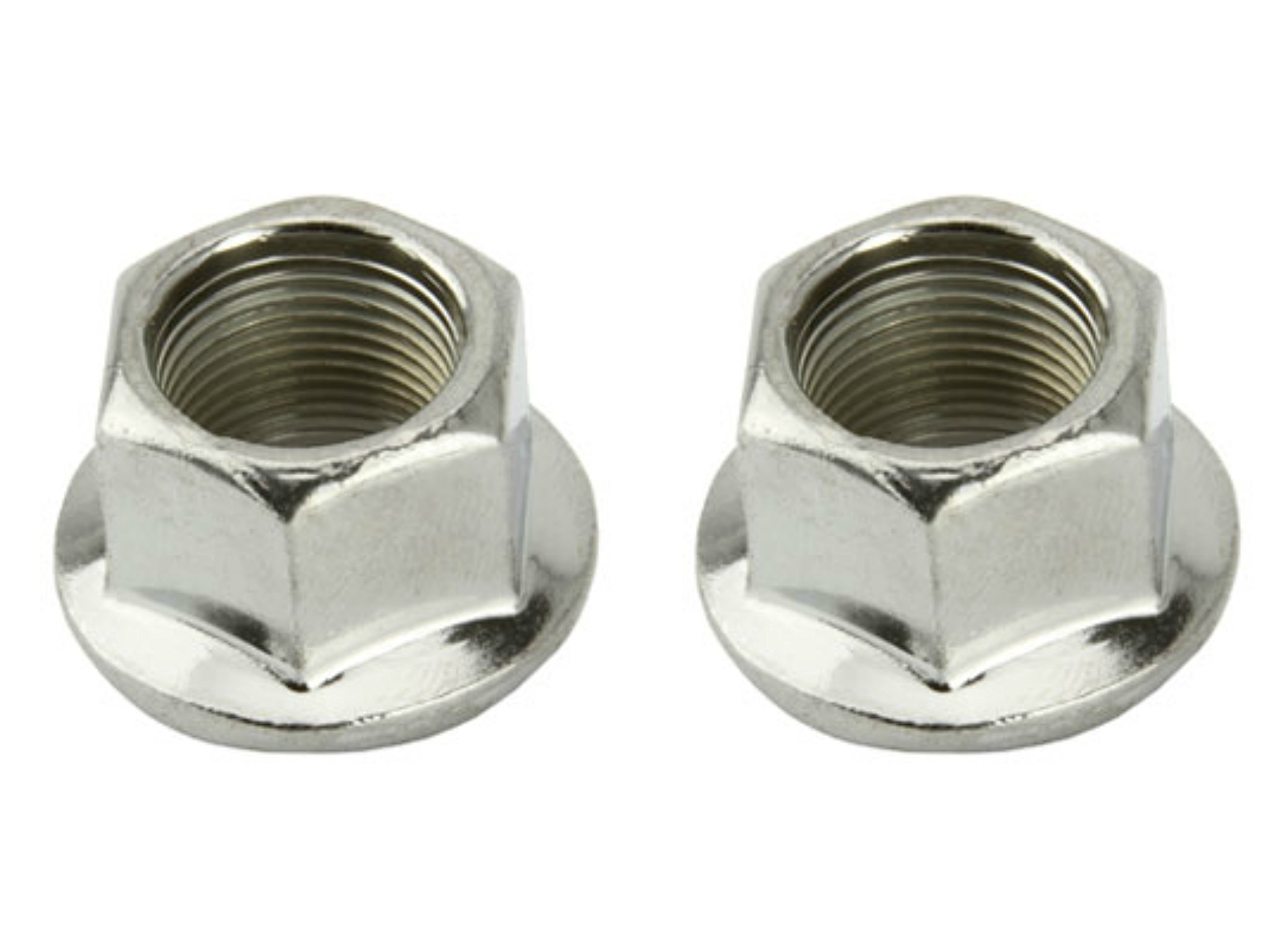 Lowrider 2 - Flange Nuts 14mm Chrome. Set of axle nut. Pair of axle nut. Bicycle nut, bike nut, beach cruiser, chopper, mountain, limo