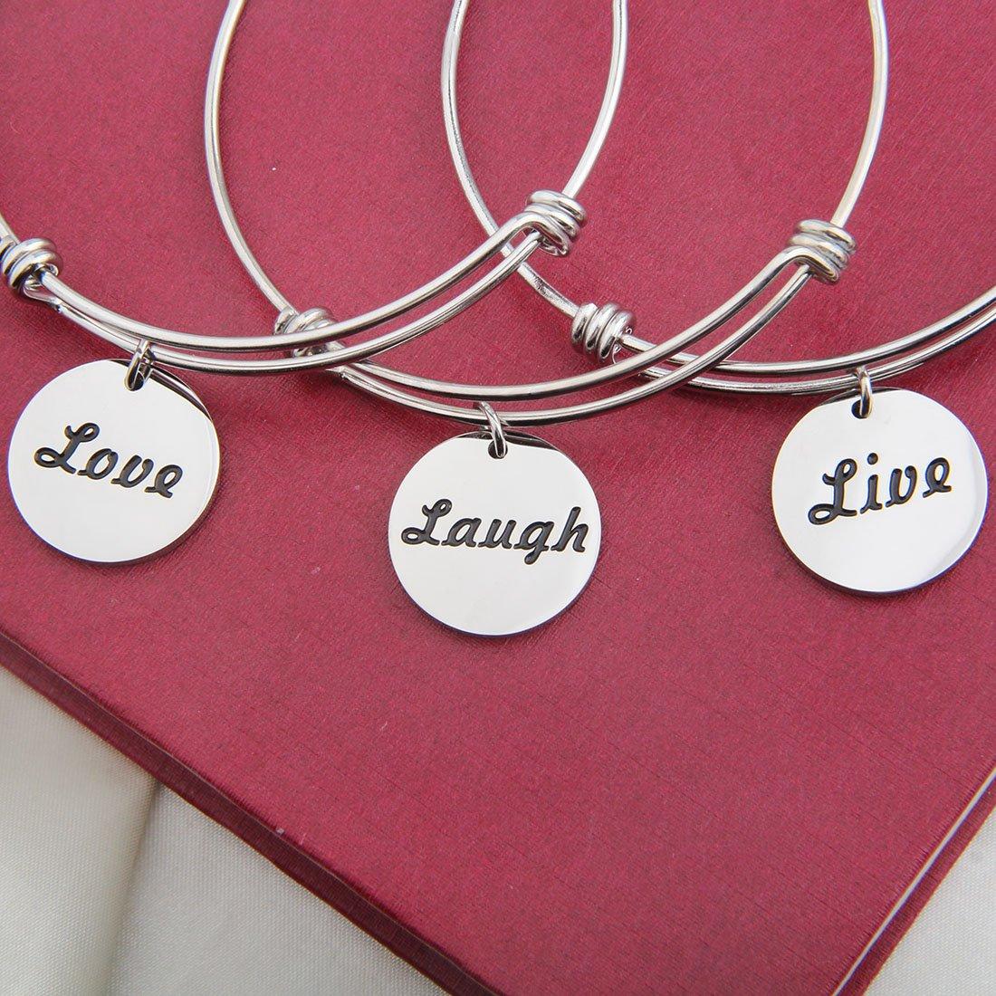 bobauna Mantra Live Laugh Love Bracelet Set Keychain Inspirational Jewelry Gift