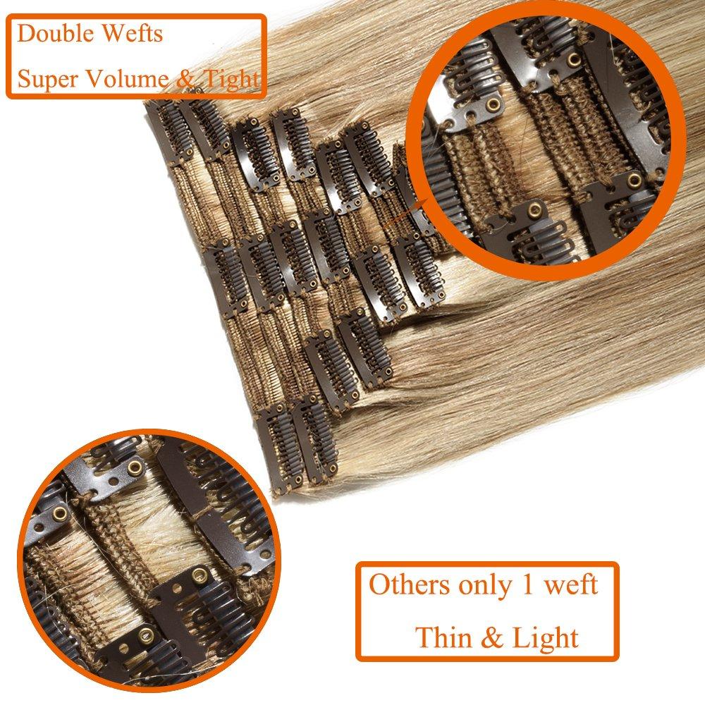 Extensiones de Clip de Pelo Natural - Double Weft(Muy Grueso) - 100% Remy 14