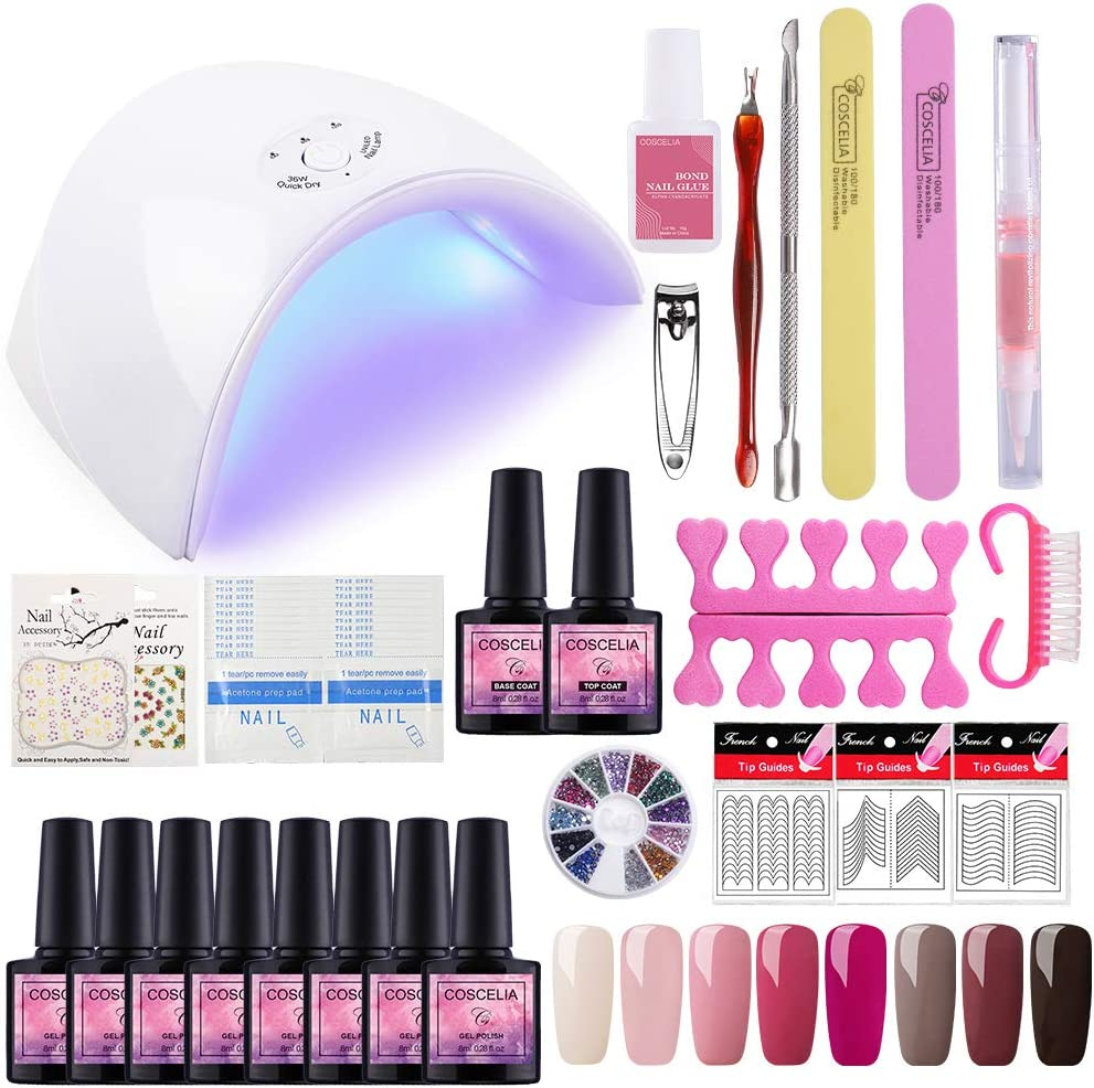 Saint-Acior 8PCS Esmalte de Uñas Semipermanente Uñas de Gel Soak off 8ml Nail Dryer 36W UV/LED Lámpara Uñas Secador de Uñas Top Coat Base Coat Manicura Kit