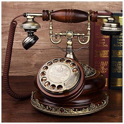 b6a2a125ba9 SMC Tono Doble mecánico Teléfono Retro Marrón Madera Maciza Casa Antigua  Línea terrestre Línea clásica Retroiluminación