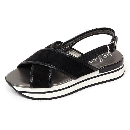 D0226 sandalo donna HOGAN H257 scarpa fasce nero sandal shoe woman