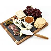 Hecef Acacia Wood Cheese Board Set with Black Slate & Cheese knife, Wooden Charcuterie Platter & Serving Tray for Cheese…