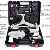 STANDTALL Electric Car Floor Jack Set 3 Ton All-in-one Automatic 12v Scissor Lift Jack with Impact Wrench and Tire Inflator Pump for Tire Change & Replacement
