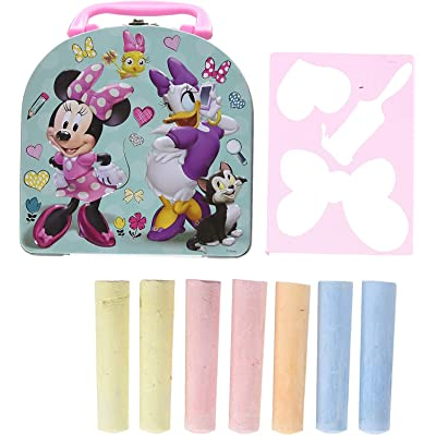 Character Sidewalk Set, On The Go Chalk Sticks with Stencil and Storage Tin, Great Set for Kids (Minnie)