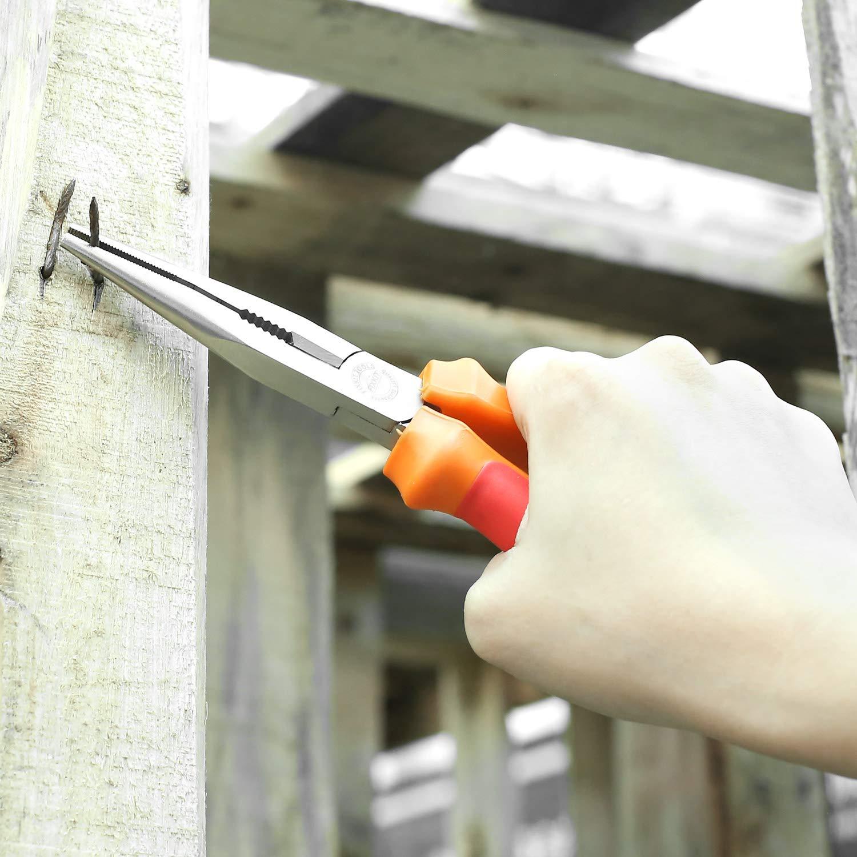5-tlg Zangen-set Orange rote Farbe FIXKIT FKS005 Zangensatz 6-Zoll-Seitenschneider , 7-Zoll-Telefonzange, 6-Zoll-Kombizange, 6-Zoll-Gleitgelenkzange, 8-Zoll-Wasserpumpenzange