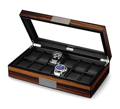 Lifomenz Co 12 Watch Box For Men Watch Display Case Wood Luxury Watch Box With Large Glass Window Watch Organizer Box With Ultra Smooth Pu Leather