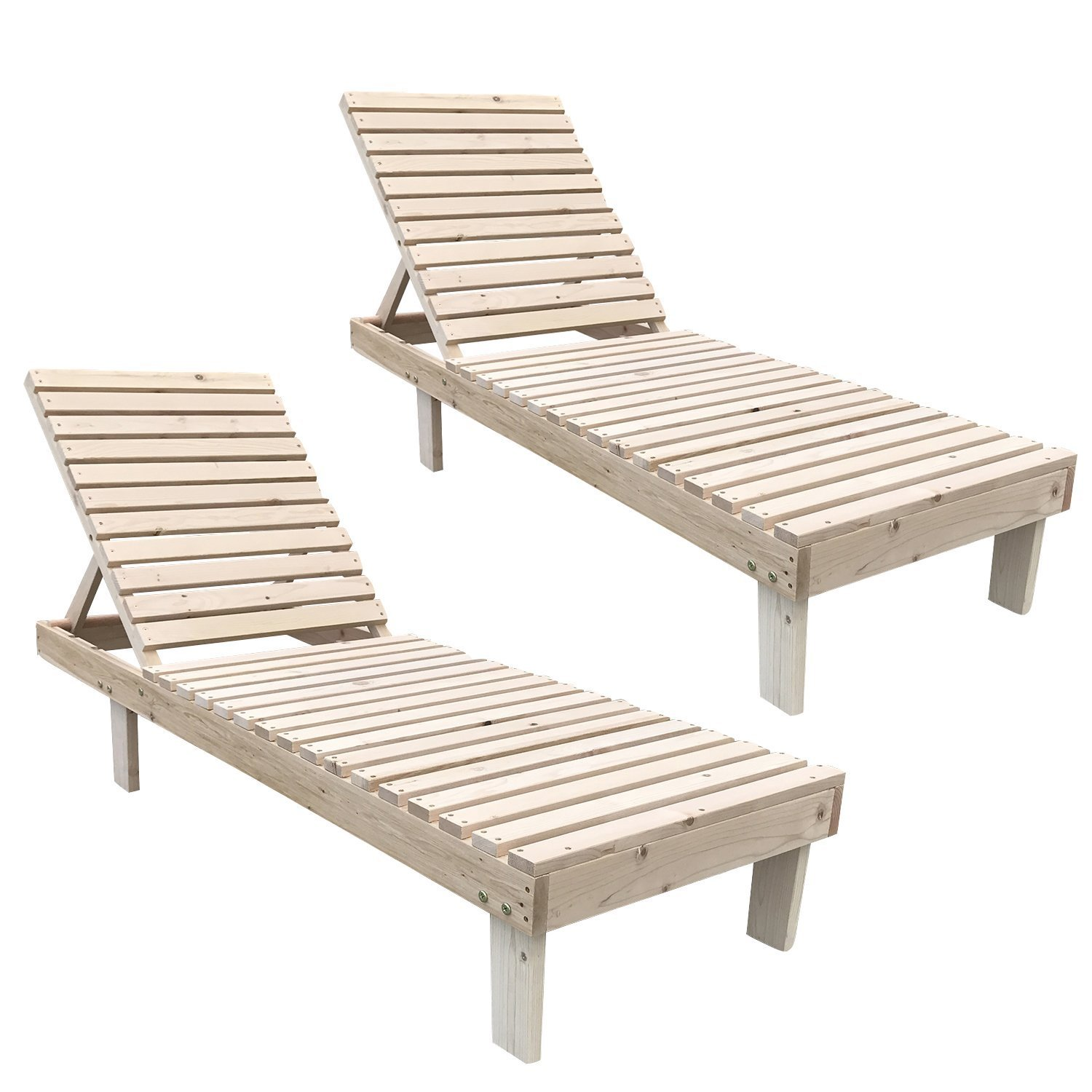 Amazoncom Uhom Set Of 2 Wooden Adjustable Chaise Lounge Chair