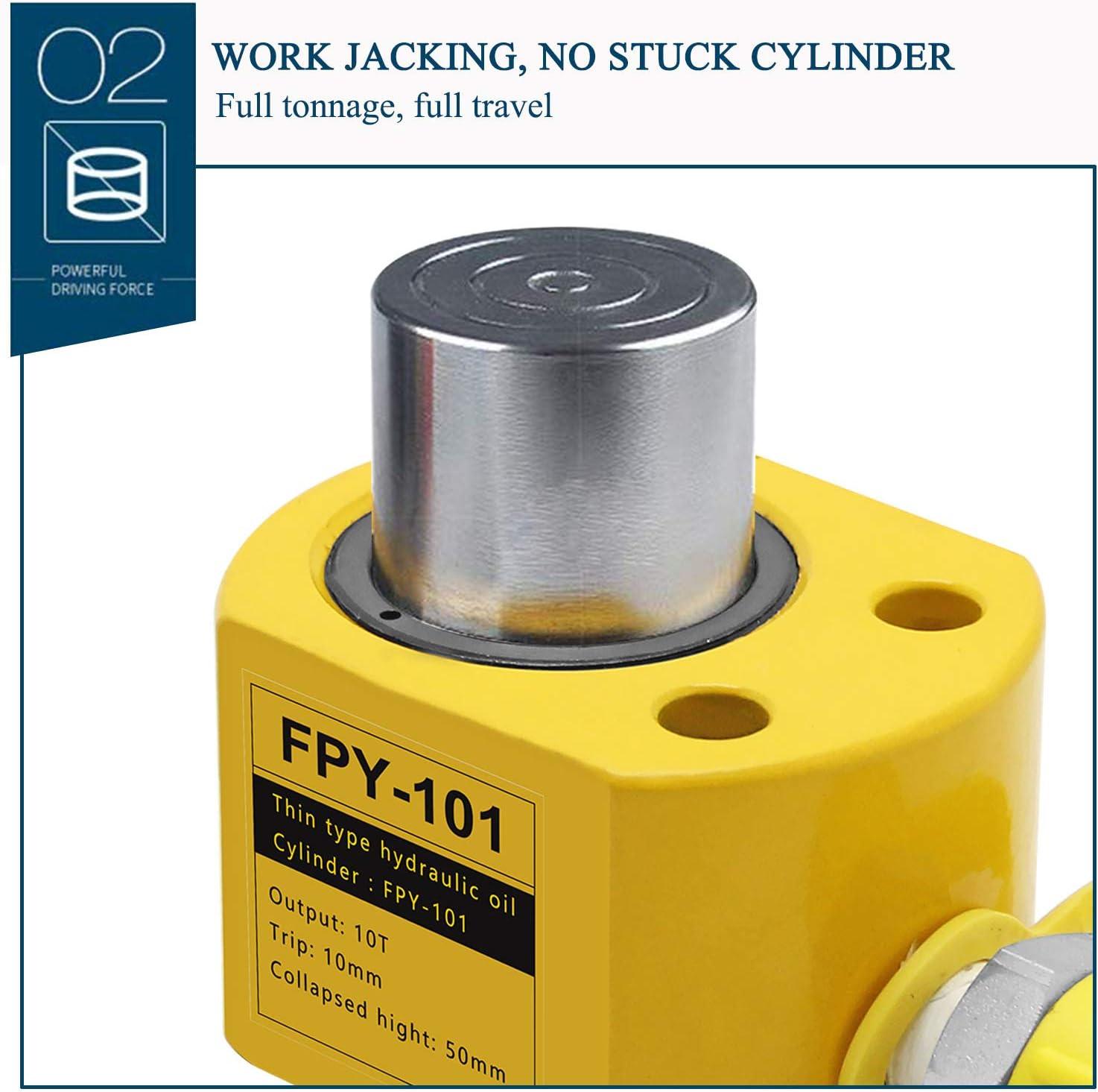 CGOLDENWALL V/érin Hydraulique /à Single Section 10-100T Cylindre hydraulique Ultra Fin de Trait jusqu/à 12mm FPY-10T CP-180