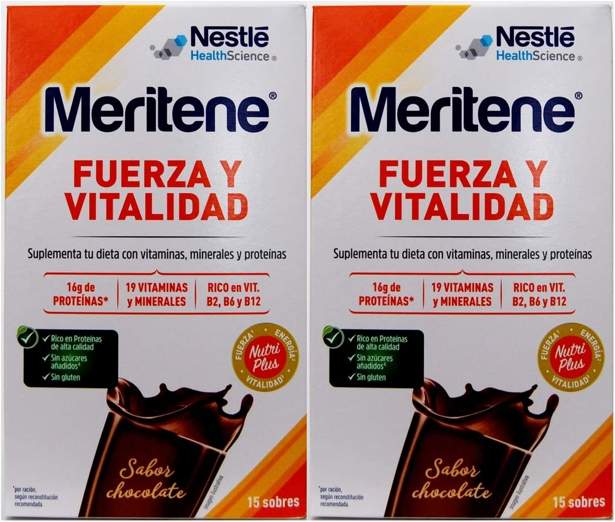 Meritene Fuerza y Vitalidad 15 sobres, Sabor Chocolate.-Pack ...