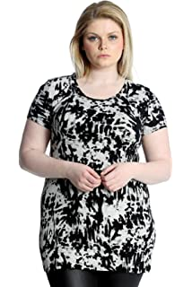 Womens Top Plus Size Ladies Swing Tunic Asymmetric Dress Abstract Print Nouvelle
