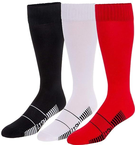 Amazon.com: 3 unidades de calcetines de fútbol para hombre ...