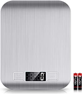 Mik-Nana Food Scale, 22lb Digital Kitchen Scale Weight Grams and Oz for Baking and Cooking, 1g/0.1oz Precise Graduation, Easy Clean Stainless Steel