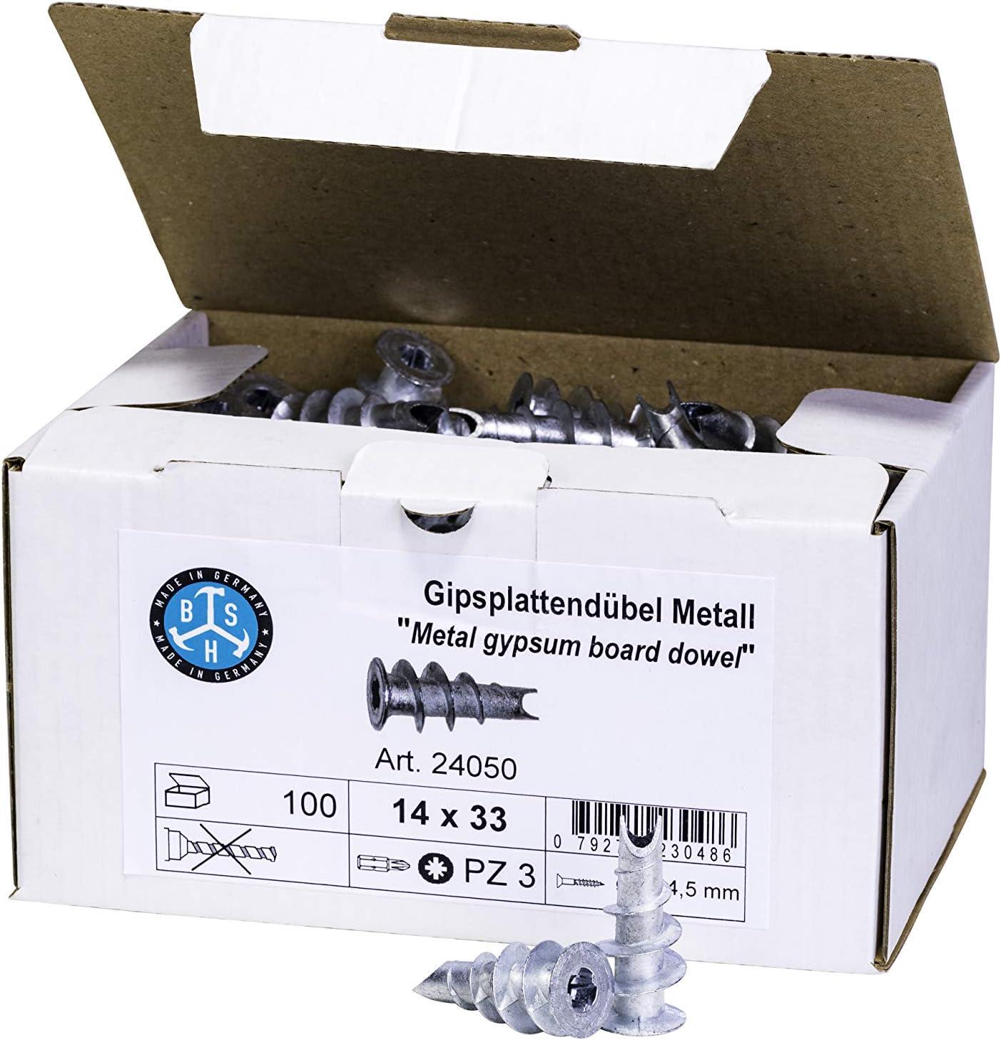 Gipskartondübel BSH® Gipsplattendübel Metall oder Kunststoff 100 St.// Paket
