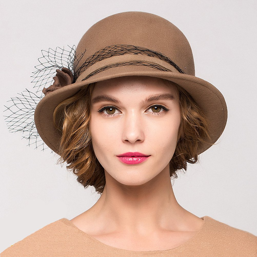 Maitose&Trade; Women's Wool Felt Bowler Hat Camel by Maitose (Image #5)