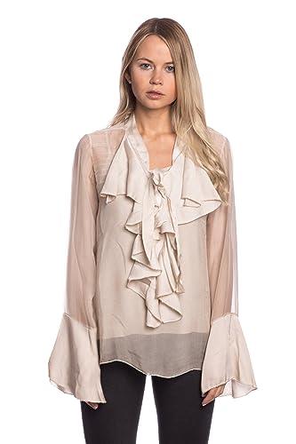 Abbino 8622 Blusas Tops para Mujer – Hecho en ITALIA – 6 Colores – Entretiempo Primavera Verano Otoño Mujeres Femeninas Elegantes Camisas Casual Vintage Oficina Fiesta Fashion Rebajas Manga Larga