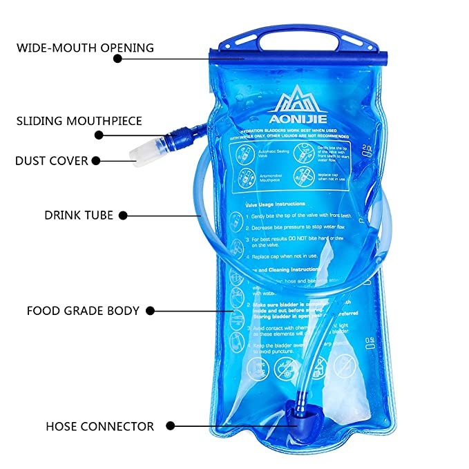 Amazon.com : AONIJIE 1L Hydration Bladder Insulated 2 Liter Water Reservoir 1.5L Water Bladder Bag BPA Free Hydration Pack Bladder for Hiking Biking ...