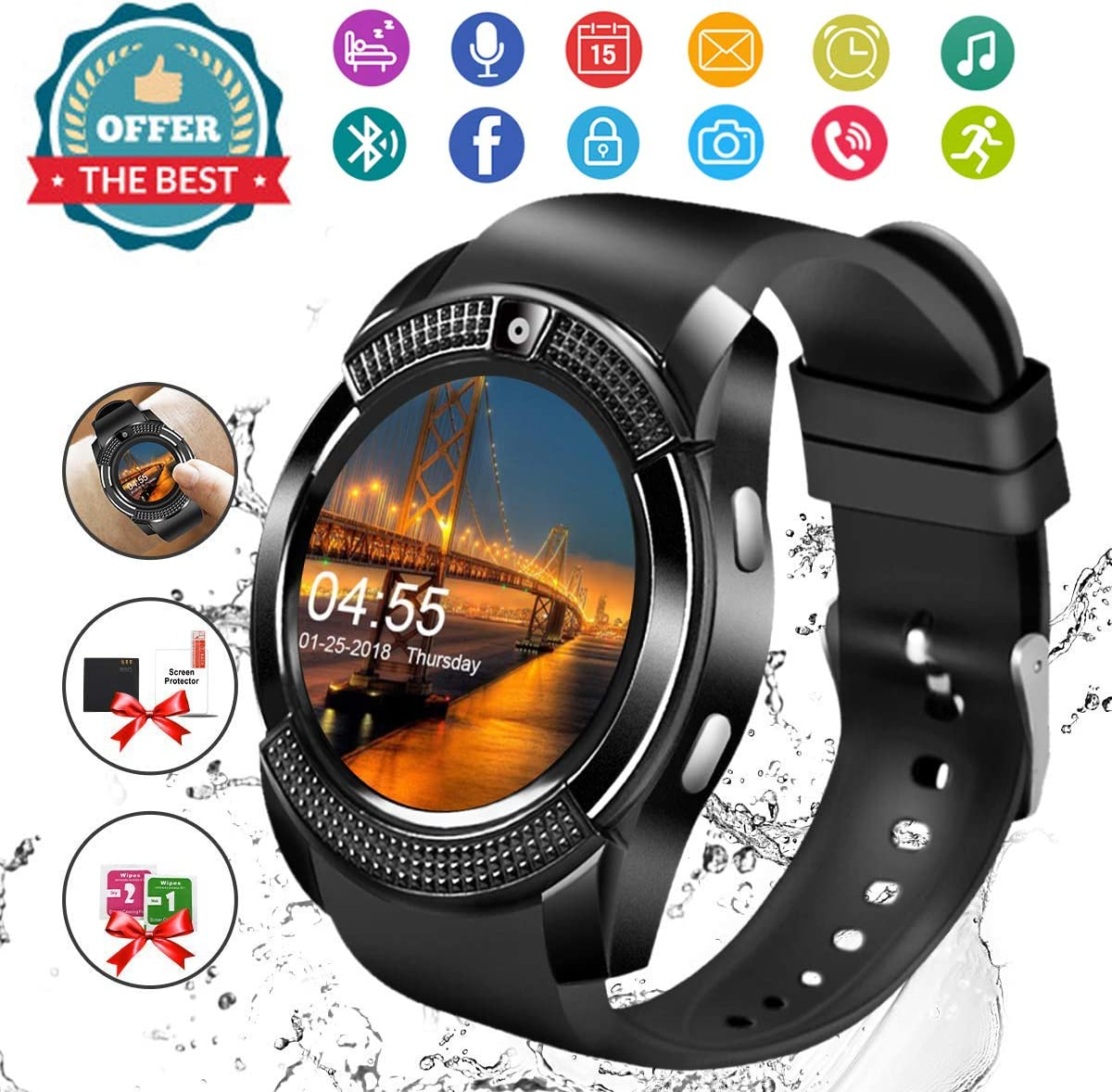 Smart Watch,Android Smartwatch Touch Screen Bluetooth Smart Watch for Android Phones Wrist Phone Watch with SIM Card Slot & Camera,Waterproof…