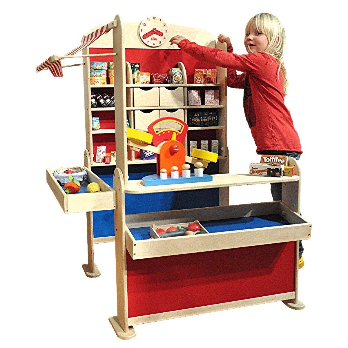 Tienda de comestibles con 100tlg de madera. accesorios: Amazon.es: Juguetes y juegos