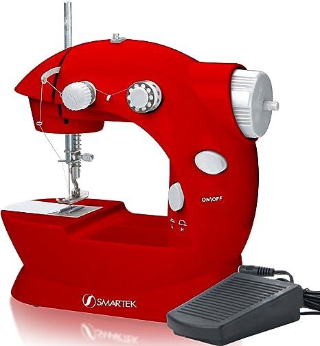 Smartek rx-08 Mini máquina de coser con pedal, Rojo: Amazon.es ...